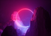 Неоновый свет в горах