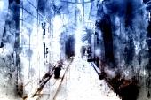 Абстракция. Акварельный город