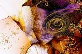 Абстракция мрамор. Сирень и золото