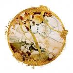 Абстракция мрамор. Коричнево-золотой