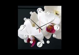 настенные часы Орхидеи на черном фоне
