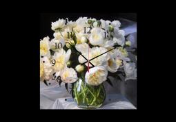 настенные часы Пионы в прозрачной вазе