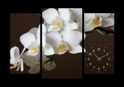 настенные часы Орхидеи на коричневом фоне