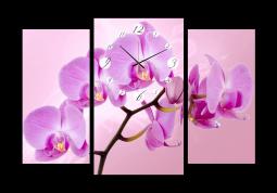 настенные часы Орхидея на розовом фоне
