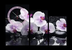 настенные часы Белые орхидеи на камнях