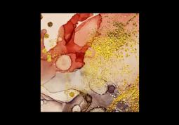 модульная картина Астракция Мрамор. Золотой корал