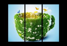 модульная картина Чашка с ромашками