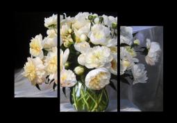 модульная картина Пионы в прозрачной вазе