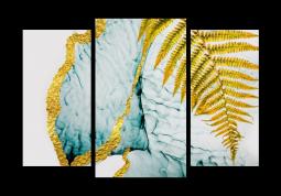 модульная картина Абстракция Мрамор. Золотой папоротник