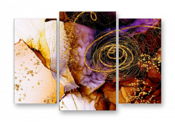 модульная картина Абстракция мрамор. Сирень и золото