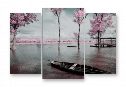 модульная картина Природа. Озеро с розовыми деревьями