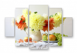 модульная картина Желтые цветы в вазе