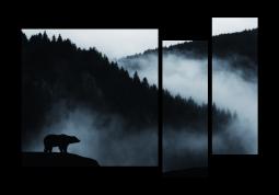 модульная картина Природа. Силуэт медведя на фоне гор