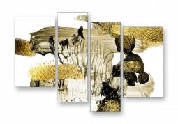 модульная картина Абстракция. Золотистые деревья