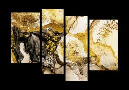 модульная картина Абстракция мрамор. Золотой песок