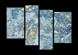 модульная картина Абстракция мрамор. Золотые волны