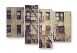 модульная картина Город. Нью-Йорк дерево у дома