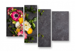 модульная картина Рананкулис цветки