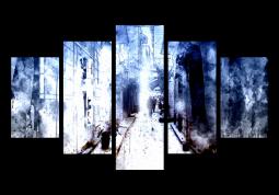 модульная картина Абстракция. Акварельный город