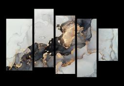 модульная картина Абстракция Мрамор.  Черно-белое золото