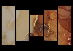 модульная картина Абстракция Мрамор. Янтарно-золотая дымка