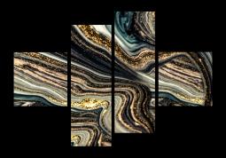 модульная картина Абстракция Мрамор. Малахитовые волны