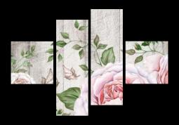 модульная картина Розы и бабочки