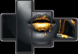 модульная картина Жидкое золото