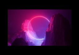 модульная картина Неоновый свет в горах