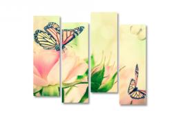 модульная картина Розовые бабочки